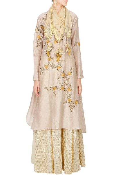 Suits, Clothing, Carma, Blush pink embroidered kurta with flared brocade skirt , , , , , , , , , , , , , ,