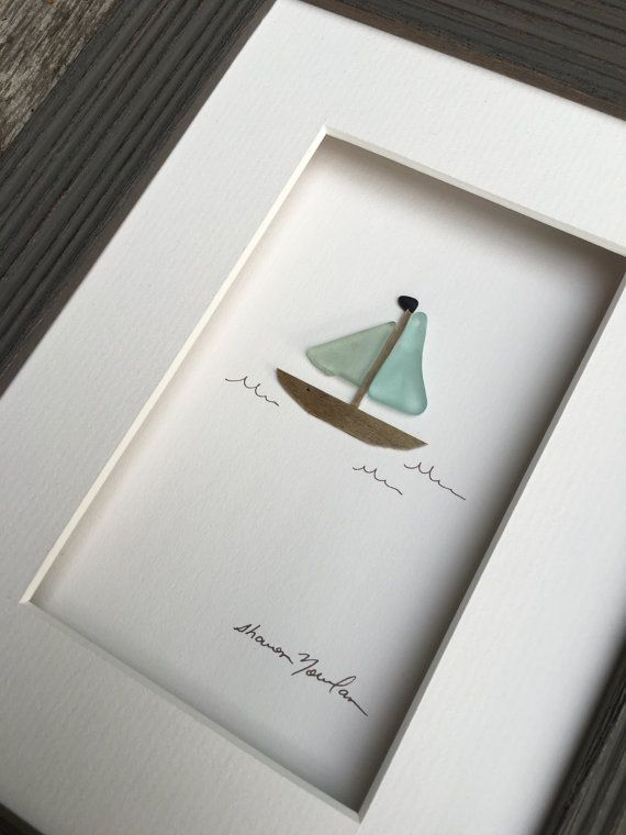 Sea glass sail boat by sharon nowlan 6 by 8 by PebbleArt on Etsy