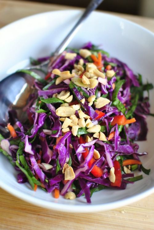 Asian Cabbage Slaw with Ginger Basil Dressing | SimplyScratch.com