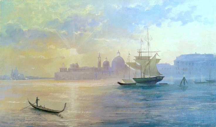 "Painting ""Sunrise in Venice""  Size 30x40 cm  $150     #painting #art # design #venice #picture #water #summer #gondola #olio #nature"