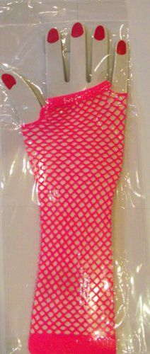 Pink Fingerless Fishnet Gloves  - 80s Fancy Dress Props and ideas