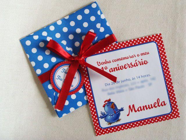 Convite de aniversário - Galinha Pintadinha - Senhoritta Rosa - festa infantil
