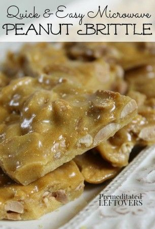 Quick and Easy Microwave Peanut Brittle Recipe - This peanut brittle recipe can be made in the 20 minutes by microwaving it and cooling in the refrigerator. Makes a great hostess gift!