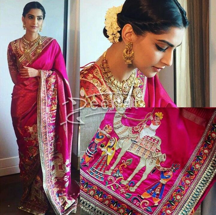 Actor @SonamAKapoor resplendent in #Abu_Jani #Sandeep_Khosla Saree <3