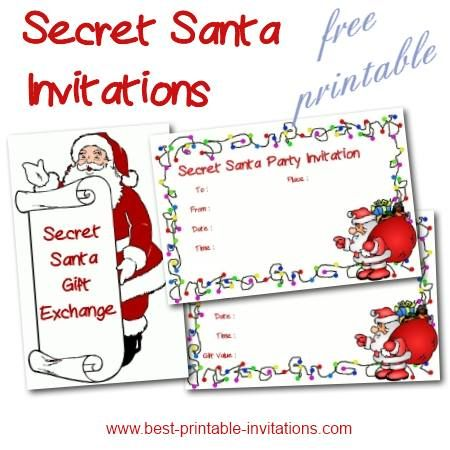 free printable secret santa party and gift exchange invitations christmas party pinterest. Black Bedroom Furniture Sets. Home Design Ideas