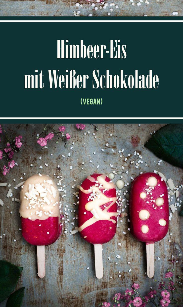 Veganes Himbeereis am Stiel mit Weißer Schokolade, Gesund und extrem lecker. #Eis #icecream #vegan #EisamStiel #nicecream #foodblogger #germanfoodblog #foodblog # whitechocolate #foodphotography #Foodfotografie