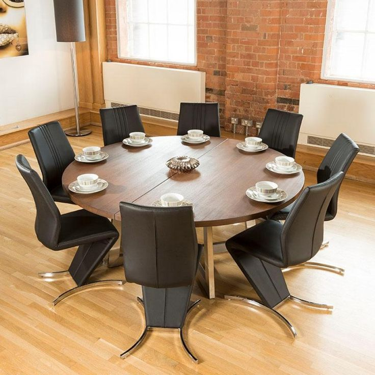 Large Round 1.8 Metre Dark Brown Oak Dining Table Plus 8 High Back Chairs.