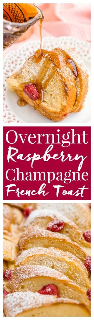 Champagne Raspberry Baked French Toast is the perfect way to kick off the New Year, Valentine's Day, or an anniversary! Prep it the night before so all you have to do is bake it in the morning! via @sugarandsoulco