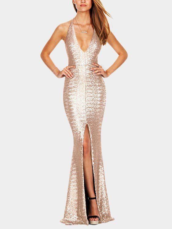 e224fb6f56da Beige Backless Design Deep V Neck Sleeveless High-waisted Bodycon Dress - US 33.95  в 2018 г.   Dresses   Pinterest   Dresses, Gowns и Evening dresses