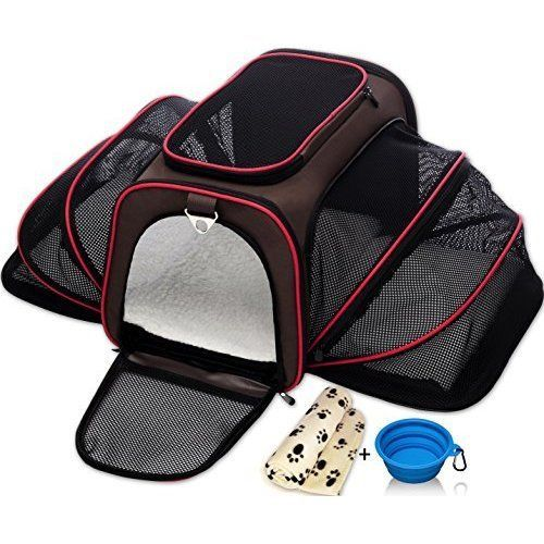 Pet Cat Kitty Small Dog Travel Bag Set Carrier Kennel Crate w/ Blanket & Bowl #PetTravelBag