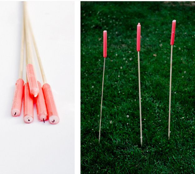Make candle stakes for romantic nighttime lighting. (try those old stick candles you will never use)