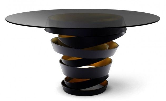 Intuition Table by Koket: Ribbons, Metals, Interiors Design, Memorial Tables, Matte Black, Intuitive Tables, Round Tables, Black Glasses, Contemporary Dining Tables