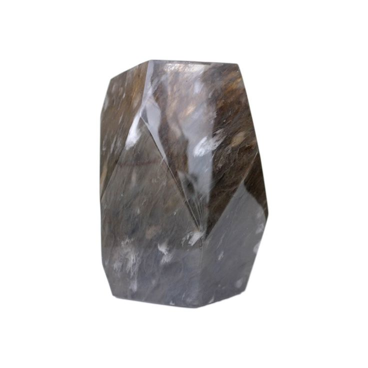 Buy Faceted Vase - Smoke Crystal by Robert Kuo - Quick Ship designer Accessories from Dering Hall's collection of Contemporary Transitional Vases