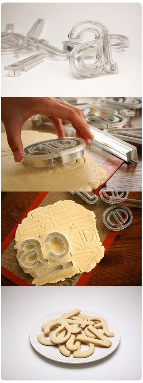 helvetica cookie cutters! not available for purchase yet...mailing list for info here: http://beverlyhsu.com/cookies.html