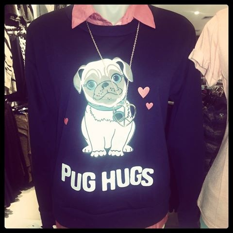 Pug Hugs! Nothing cute than this warm winter jumper from Valleygirl.