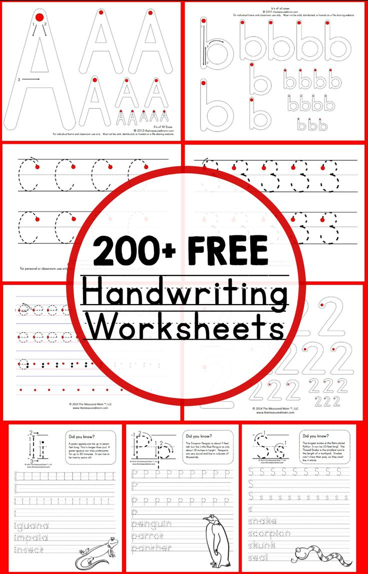 200 free handwriting worksheets - wow! What a resource for writing practice!