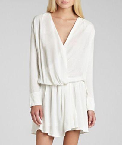 Cream Long Sleeve V-neck Drop Waist Draped Dress