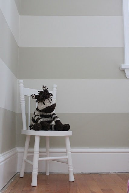 Love this striped wall for a gender neutral nursery! Could do stripes on one wall to transition to another colour if the kids end up sharing a room..... Or in the playroom...