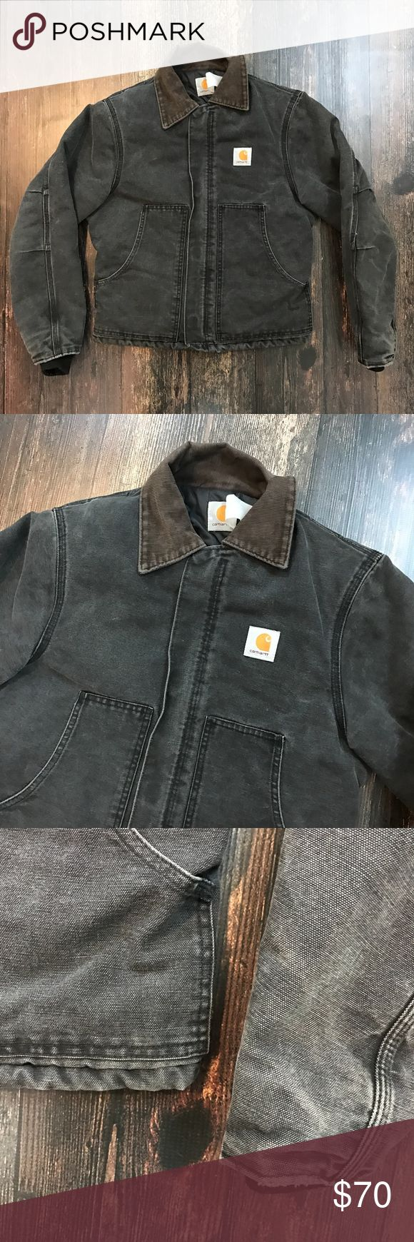 """CARHARTT Duck Canvas Traditional Work Coat Chest (PTP): 20"""" Length (Neck to Hem): 23.5"""" Shoulders (Seam to Seam): 18"""" Sleeve (Pit to Cuff): 18.5""""  Classic Carhartt style and quality. Arctic quilted lining. Corduroy collar. Good condition, some wear around edges (see photos).  No size tag, please refer to measurements. Carhartt Jackets & Coats"""