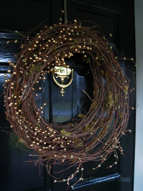 Christmas Wreath Natural Gold and Green Wreath