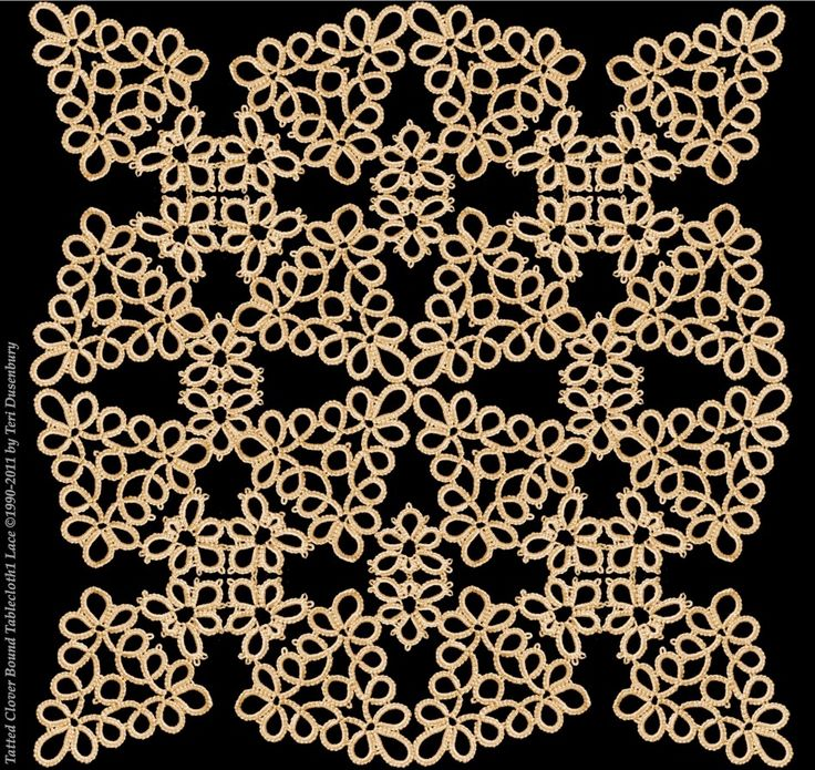 TATtle TALES Tatting Patterns: Novice: Tatted Clover Bound Shawl Pattern and Eye Candy - All tatting and design by Teri Dusenbury.