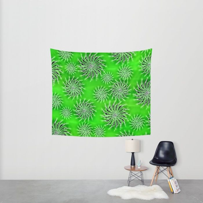 Abstract Spinning Stars Green Pattern wall #tapetry #society6