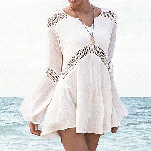 Новый 2015 мода сексуальных женщин летние мини-бич платье хлопок свободного покроя платье макси кардиган пляж бикини прикрыть праздник пляжная одежда