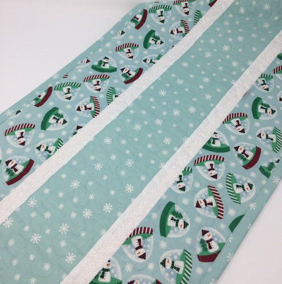 Christmas Winter Table Runner Quilt Snowman Snowglobes Snowflakes Teal Blue White Green Red Stripes Handmade Quilted Table Runners Winter Table Quilts