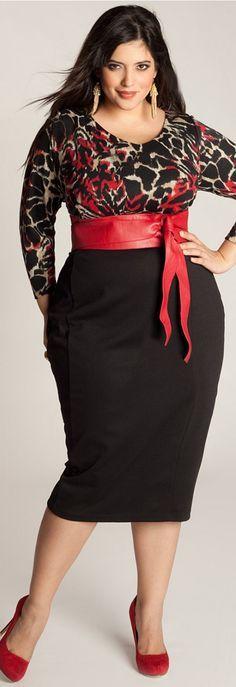 Red belt curvy women and black pencil skirts on pinterest