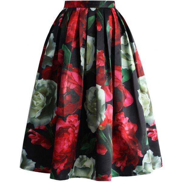 Chicwish Peonies Bloom in Dark Pleated Midi Skirt ($43) ❤ liked on Polyvore featuring skirts, multi, black floral skirt, floral skirt, mid-calf skirt, black midi skirt and calf length skirts