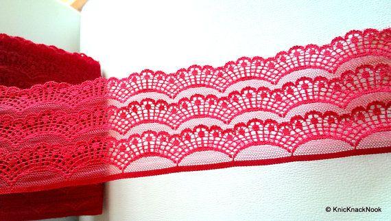 Maroon Scallop Net Lace Trim Ribbon