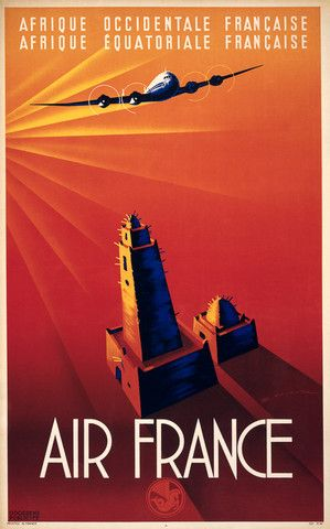 Afrique Occidentale Francaise - Air France | Vintage travel poster. #AdventureSpace