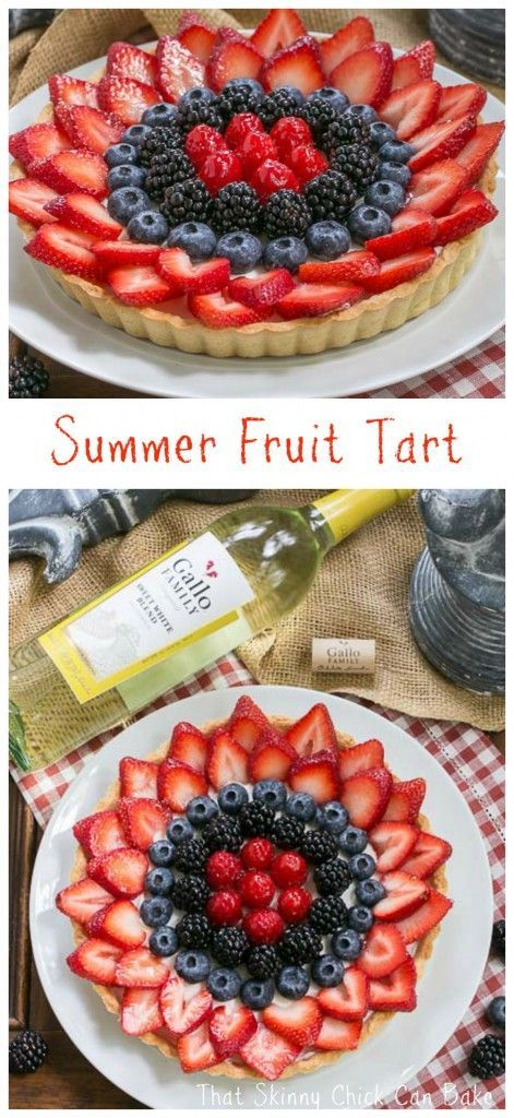 Summer Fruit Tart | Pastry crust with whipped cream and cream cheese filling topped with glorious summer berries