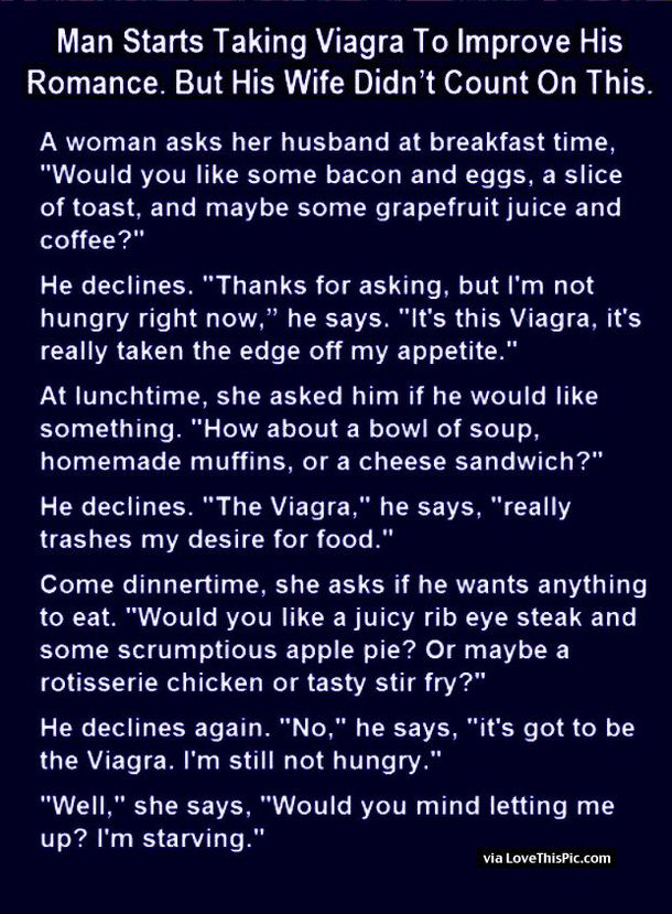 This Man Starts Taking Viagra To Improve His Romance But He Never Expected His Wife To Say This... funny marriage jokes story lol funny quote funny quotes funny sayings joke hilarious humor marriage jokes stories marriage humor funny jokes short jokes best jokes ever best jokes