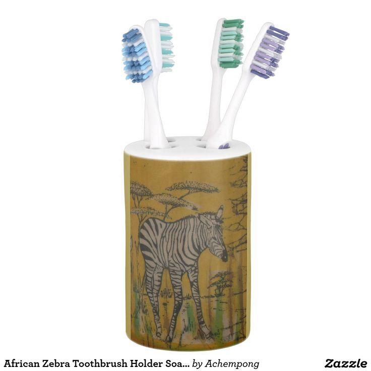 African Zebra #Toothbrush #Holder #Soap #Dispenser #set