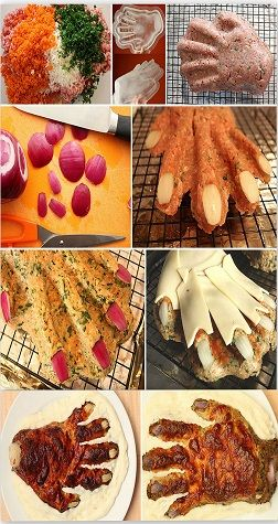 Meat Hand. I present to you the THING from Addam's family. All cooked up and ready to be devored. Imagination has no limits when it comes to cooking. Spooky but very delicous, everyone will be surprized by this cooking inovation.
