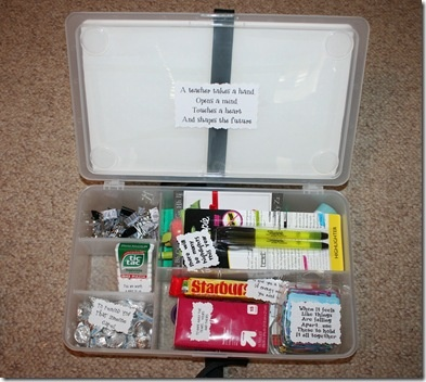 Teacher Survival Kit - cute idea for teacher gifts...Might make this for special elem teachers I know ;)
