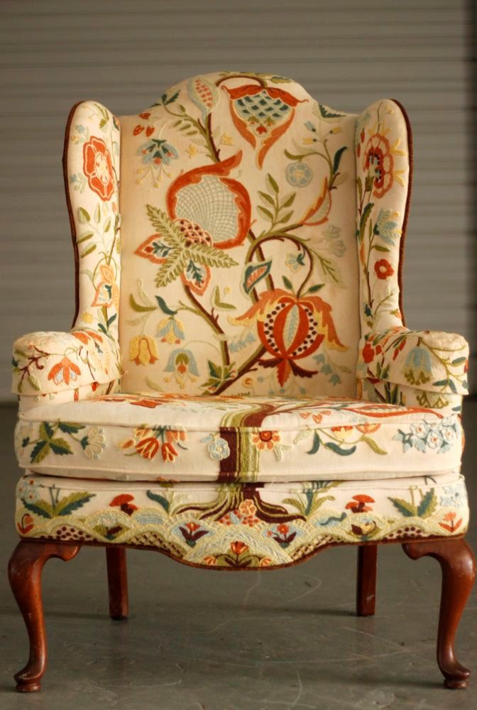 Original Vintage Queen Anne Style Wing Chair with Crewel Embroidery and Contrasting Outer Velvet