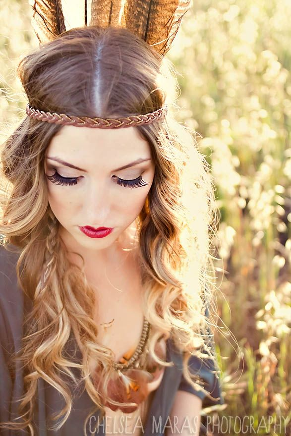 Boho curls with smokey eyes and red lips - outdoor photo shoot LOVE THIS HAIR AND MAKEUP!! LOVE THE HEADBAND