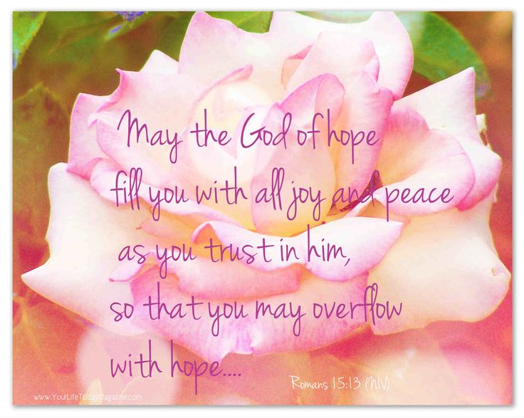 May the God of hope fill you with all joy and peace as you trust in him, so that you may overflow with hope.... (Free e-card)
