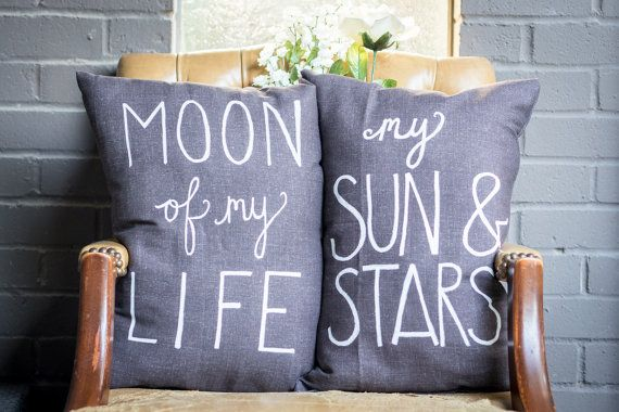 Moon Of My Life, My Sun And Stars    This is a set of two unique pillows completely hand made by myself. They are super soft and fluffy, making them