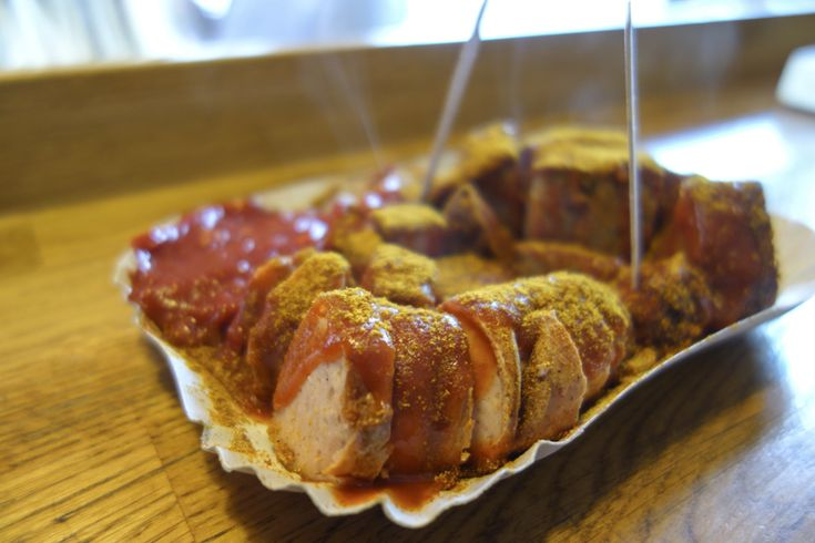 Currywurst.  For more Berlin food recos http://thisissheena.com/blog/visual-diary-eating-and-drinking-in-berlin