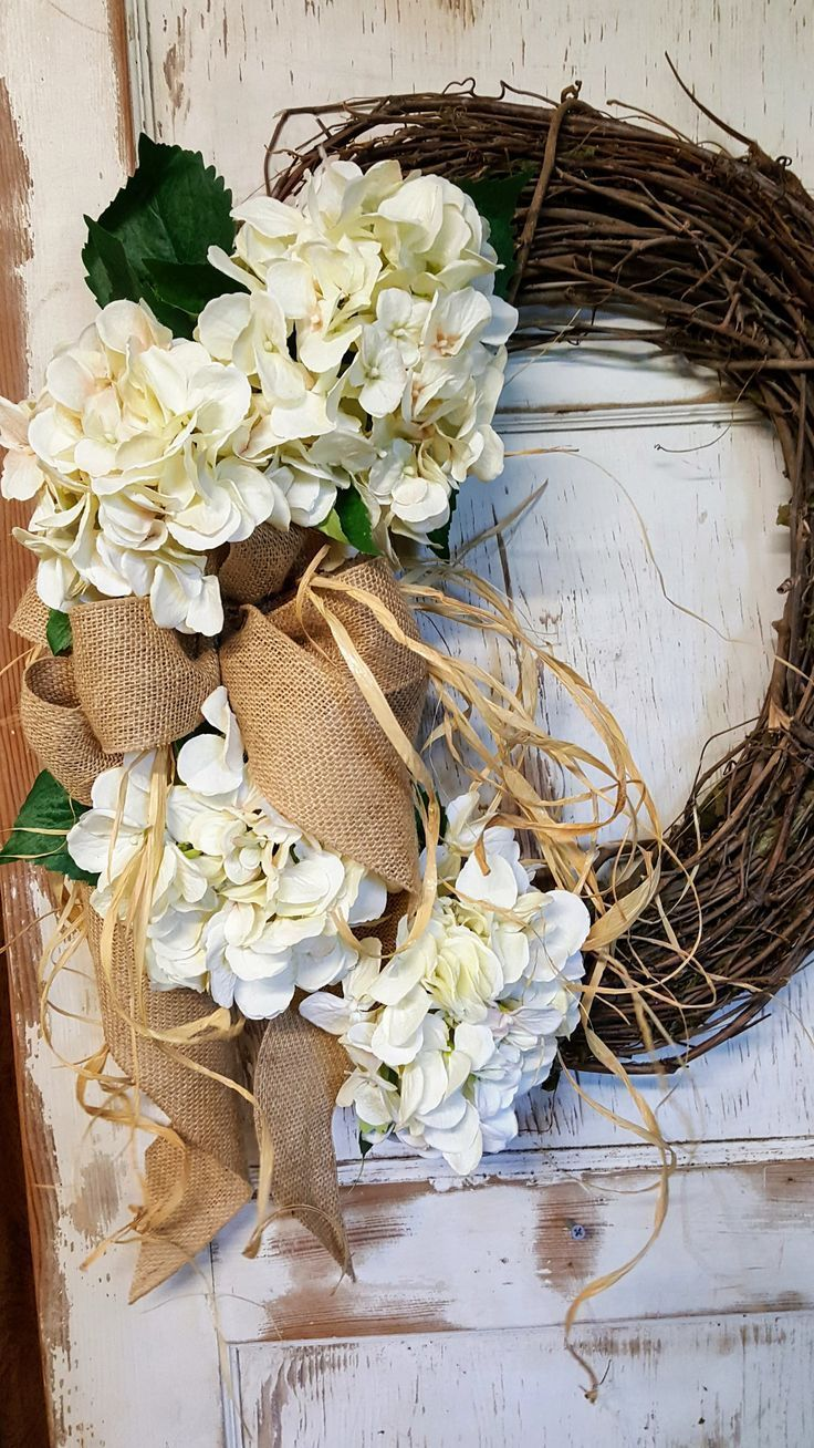 Front door Wreath, READY TO SHIP, Front door wreath, hydrangea, Wedding Wreath, Wreath Great All Year Round, Door Wreath by FarmHouseFloraLs on Etsy