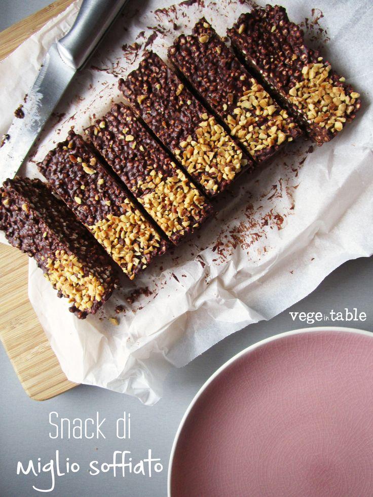 vegeintable: Vegan snack with puffed millet, dark chocolate and hazelnut (gluten free recipe)