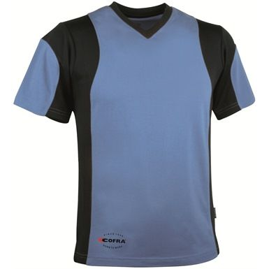 This Blue Cofra Java Short Sleeve V Neck T-Shirt is a stretchable and cool v-neck garment, with side splits to provide a better level of comfort, and Cofra CoolDRY side inserts help make the Cofra Java Short Sleeve V-Neck T-Shirt a cool, quick drying and breathable garment which is ideal for work or play. (5 other colours available).