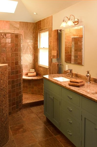 17 best images about santa fe inspired bathroom on for Warm feel bathroom floor tiles