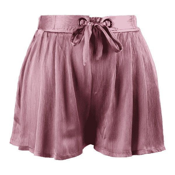 Crushed Self Tie Shorts ($15) ❤ liked on Polyvore featuring shorts, zaful, purple shorts, women's plus size shorts and plus size shorts