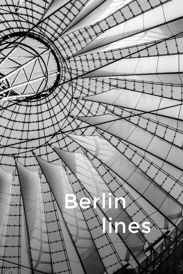 Berlin lines . Let's go line hunting among the great architecture of Berlin! Which one is your favourite? 1. Sony Center 2. Hackeshe Höfe 3. Bahnhof Alexanderplatz 4. Holocaust Memorial 5. Rotes Rathaus Christmas market 6. The Reichstag building 7. Mall