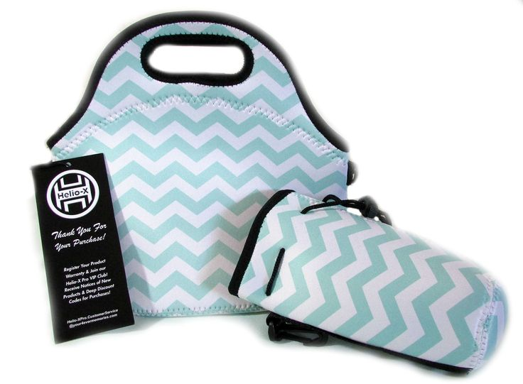 Insulated Neoprene Lunch Bag Tote & Water Bottle Cooler Set | Cross body Strap | Zipper | Washable | Stretchy | Waterproof Outdoor Travel Picnic |Designer Light Blue Teal N White Chevron Helio-X Pro