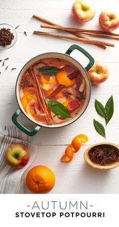Brew up a concoction that will leave the whole house smelling like fall. Simmer orange peels, apple slices, bay leaves, cinnamon sticks and cloves with water in a dutch oven on the stove for a delicious fall aroma. Featured product includes: Food Network dutch oven. Host the holidays in style with Kohl's.